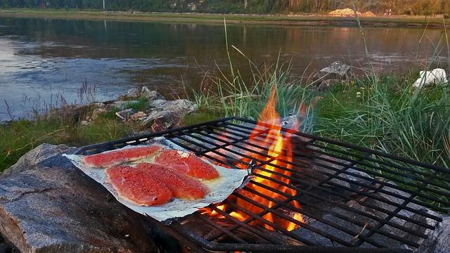 נתחי דג סלומון על האש