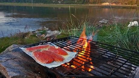 נתחי דג סלומון על האש - עותק