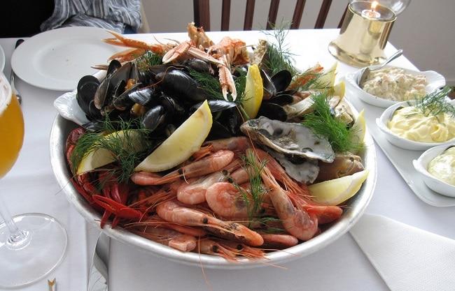 פירות ים במסעדת Lille Herbern